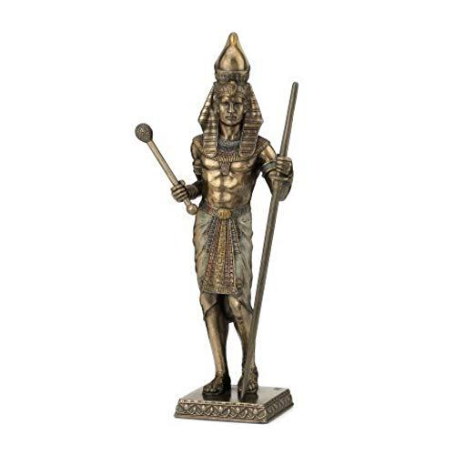 CAPRILO Figura Egipcia Decorativa de Resina Faraón. Adornos y Esculturas. Decoración Hogar. Regalos Originales. 23 x 10 x 5.5 cm.