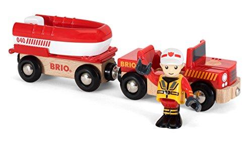 BRIO World 33859 - Feuerwehr Boot mit Transporter, bunt