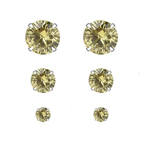 YOURDORA 3 Pares Plata de Ley 925 Pendientes Tous Mujer con Cristal de Swarovski Sencillo Joyería Elegante 3mm 5mm 7mm (Verde oliva)