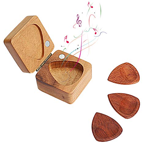 Caja de púas de madera para guitarra con 3 púas de madera, púas de guitarra de madera para guitarra eléctrica, acústica o bajo - Sándalo dorado, 40x40x9 mm