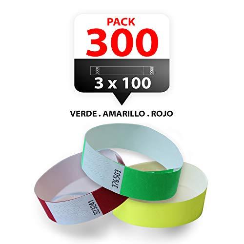 Pack 300 pulseras fiesta semaforo Pulseras tyvek multi colores