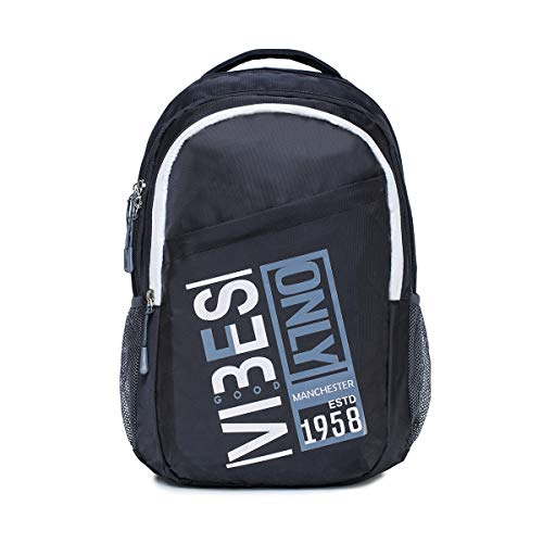 Navy Font By Verage - Vibes - Black Colour 46 Cm/31 Litres Polyester Casual Backpack [NFVAVBBPBK]