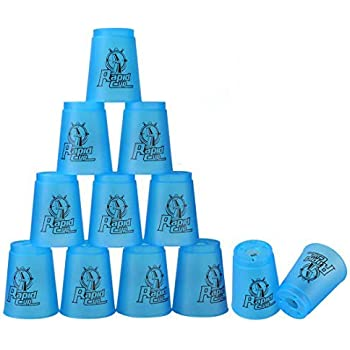 Quick Stack Cups, 12 Pack Stacking Cups Classic Stack Speed Training Game Toys for Boys Girls Kids Students Teenagers (Blue)