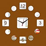 Restaurante familiar Cocina Reloj de pared DIY Acrílico Decoración para el hogar Reloj de pared Diseño moderno Reloj de lujo 3D Crystal Mirror Etiqueta de etiqueta Moda ( Color : 3/8' )