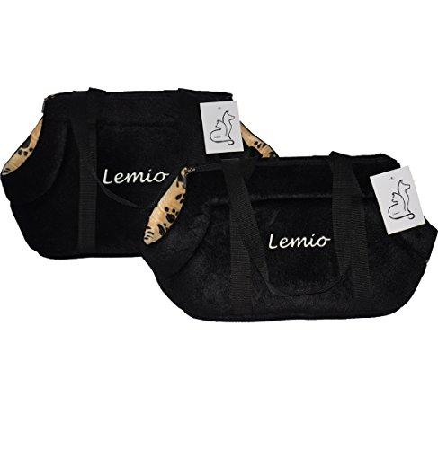 Lemio - Transporttasche/Tragetasche Tasco Katze Hund Kleintier (L 47x25x26, schwarz)