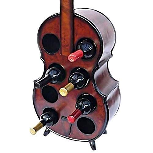 WeinhalterGroßes freistehendes Holz-Weinregal |Vintage Style Gitarre Cello Kontrabass Neuheit Flaschenhalter |Hält 8 Flaschen Home Bar Restaurant Dekor Esszimmer Möbel Vitrine