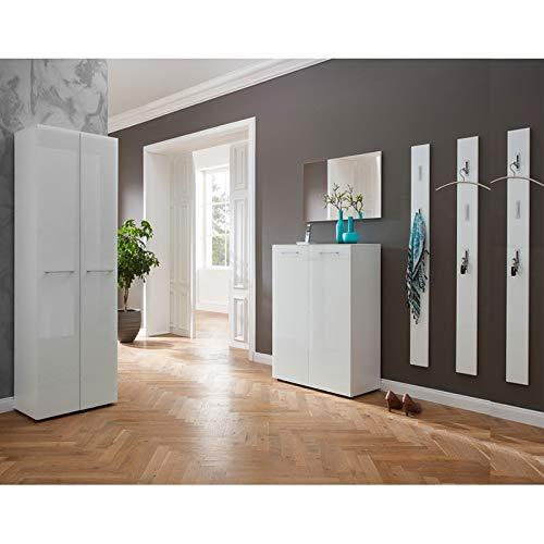 Lomadox Garderoben-Komplett-Set - 6-teilig - Glasfront weiß - inkl. Garderobenschrank und 3 Garderobenpaneele