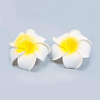 2 pcs Hawaiian Foam Flower Bridal Wedding Party Hair Clip White Plumeria