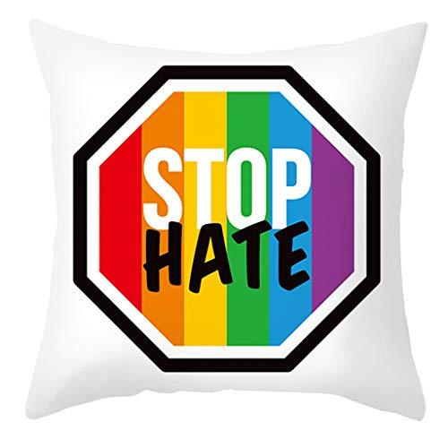 R1vceixowwi Funda de cojín con diseño de arcoíris y corazón impreso, funda de cojín con letras LGBT Pride (45 x 45 cm)