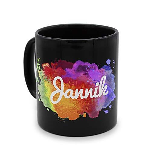 printplanet - Tasse Schwarz mit Namen Jannik - Motiv: Color Paint - Namenstasse, Kaffeebecher, Mug, Becher, Kaffeetasse