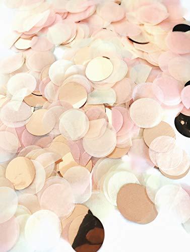 Konfetti rosegold mehrfarbig, 2,5cm rund, 20g, 1500 Stück – elegante und moderne Party-Dekoration – Geburtstag, Hochzeit, Baby-shower, Silvester