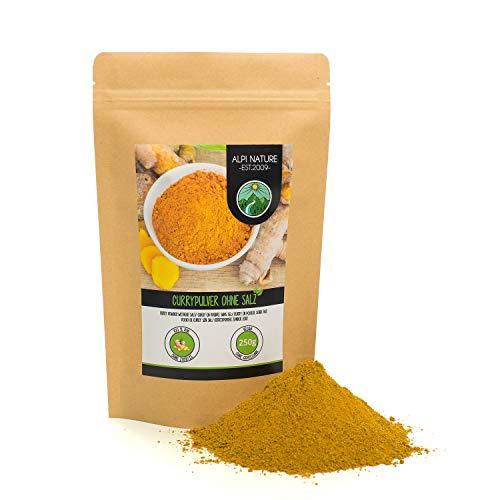 Curry dolce in polvere senza sale (250g), curry dolce in polvere, tipica miscela di spezie indiane, confezione richiudibile