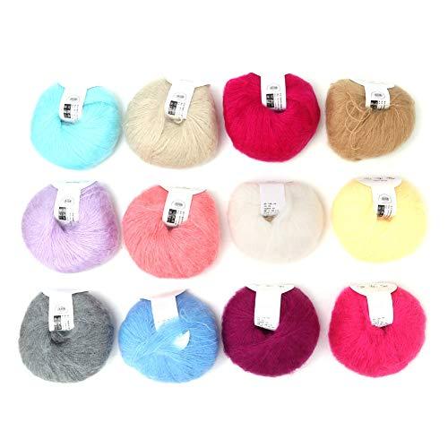SOONHUA - Ovillo de lana suave Angora Mohair de 26 g, 12 colores por juego, popular Pashm Knit Angora de lana larga para prendas de vestir, bufandas, suéteres