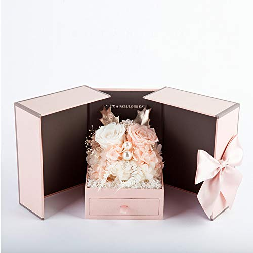 GE&YOBBY Conserva De Flores Frescas Flor De Rosa Real Hecha A Mano En Caja Joya con Exquisitos Aretes para Aniversario Madre Día De Fiesta Cumpleaños Partido -b 17x13x13cm(7x5x5inch)