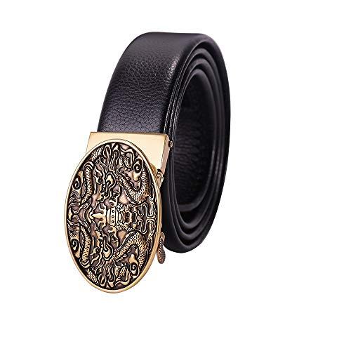 Herren Business Ledergürtel, verstellbarer Bund aus echtem Leder mit Ratsche, automatischer Gürtelschnalle, ideal for Jeans, Freizeit-, Cowboy- und Arbeitskleidung (Farbe : #3, Größe : 47.2in)