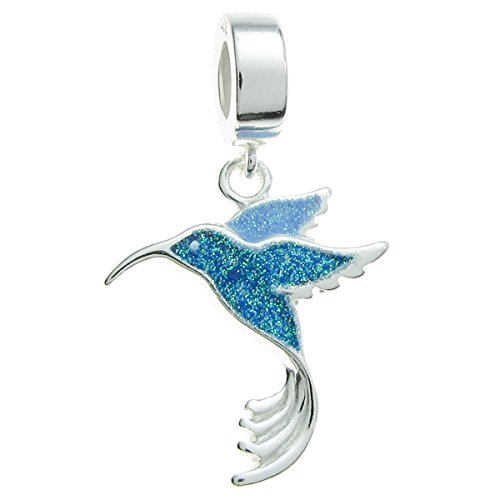 Queenberry Sterling Silver Hummingbird Enamel European Style Dangle Bead Charm