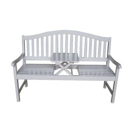 Gartenbank mit Tischablage aus FSC®- Eukalyptusholz weiß - Modell UTAH