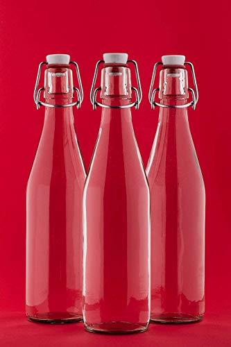 Annfly 3 botellas de vidrio abatibles transparentes con tapa abatible a prueba de fugas, tapas fáciles de botella con tapa abatible para preparar bebidas, aceite de cerveza, vinagre (750 ml)