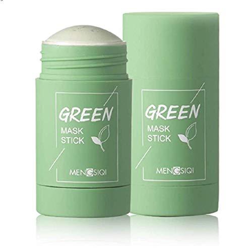 ZYZS 1PC Grüner Tee Purifying Clay Stick Mask Ölkontrolle Gesichtsmaske, Stick Deep Cleansing Anti-Akne-Maske Fine Solid Mask Green Tea, Auberginen Akne Cleansing Solid Mask