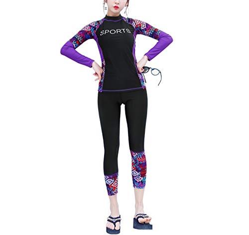 ANRIRA Dünner Ganzkörper-Neoprenanzug für Frauen, Zweiteiliger UV-Schutzanzug für Mädchen mit Langen Ärmeln zum Tauchen, Schnorcheln, Surfen und Schwimmen,M