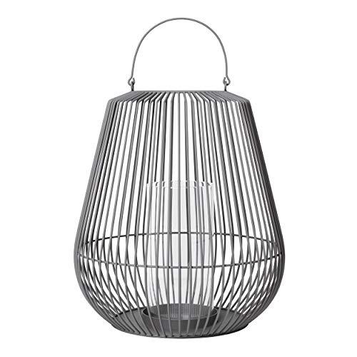 Blomus Laterne NIDEA small, Windlicht, Kerzenhalter, Stahl pulverbeschichtet, Glas klar, steel gray, 65979