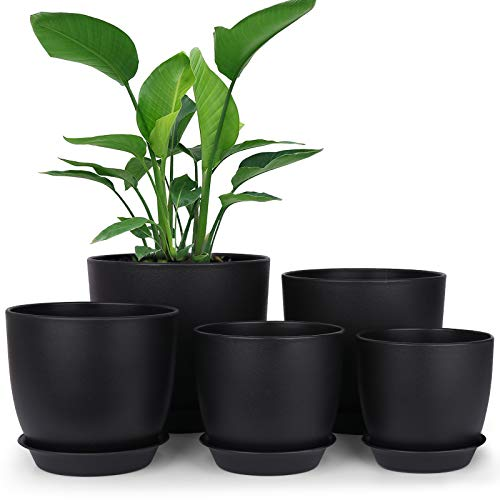 Plastic Planter, HOMENOTE 7/6/5.5/4.8/4.5 Inch Flower Pot Indoor Modern Decorative Plastic Pots for Plants with Drainage Hole and Tray for All House Plants, Succulents, Flowers, and Cactus, Black