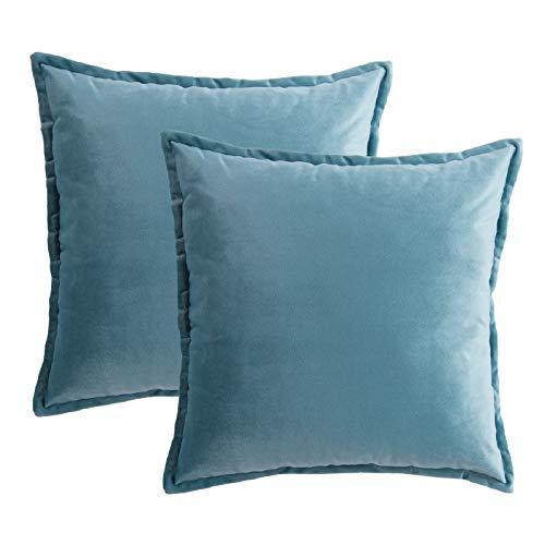Bedsure Federe Cuscino Divano in Velluto - Federa Cuscino Decorativo Blu Chiaro Quadrato 45 x 45 cm 2PK-Federe guanciali Cuscino per Letto