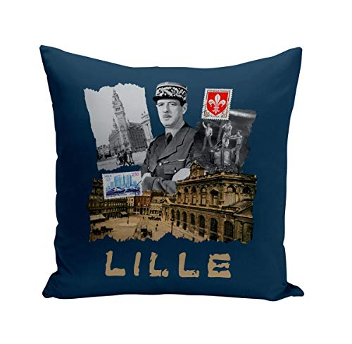 Coussin 40x40 cm Lille Collage Ville France Nord Histoire