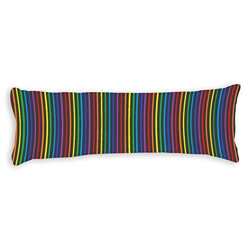 Pinstripe Rainbow Body Pillow Cover Pillowcases Cushion with Hidden Zipper Closure for Sofa Bench Bed Home Decor 20'x54'