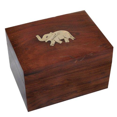 DakshCraft  Quadrato di Legno Contenitore di monili Intarsi in Ottone Disegno dell'elefante