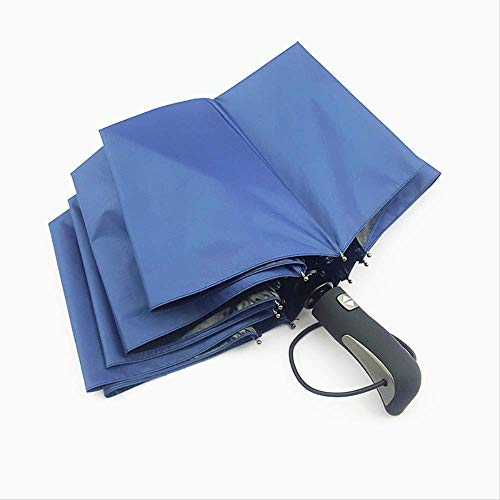 Automatic 3 Folding Rain Umbrella Women Men Strong Windproof Umbrella Oversized Business Compact Umbrella,Blue ZWYY Travel Umbrella