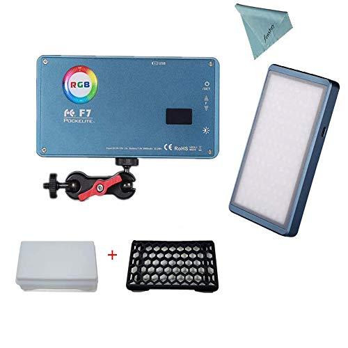 Falcon Eyes F7 RGB 12W LED Auf Kamera-Licht RGB Videoleuchten Eingebaute Batterie Pocket Size Bi-Color 2500K-9000K mit Honeycomb Grip Softbox mit Magnet Adsorption Function
