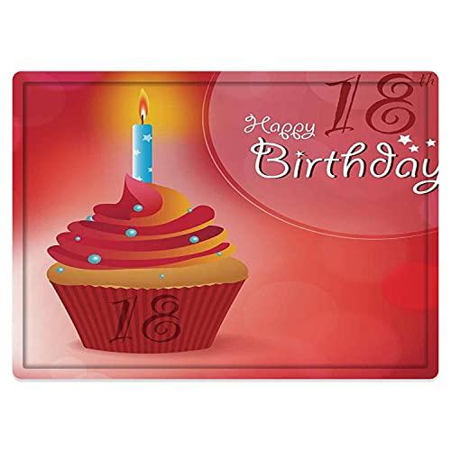 Tappeto da bagno50x80cm, Decorazione per il diciottesimo compleanno, Cupcake di compleanno per diciotto feste con candele, ro Adatto per cucina, bagno con doccia, soggiorno
