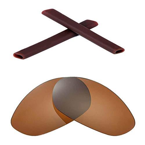 Walleva Wechselgläser Und Earsocks für Oakley Minute 2.0 Sonnenbrille - Mehrfache Optionen (Braun Polarisierte Linsen + Schwarzer Gummi)