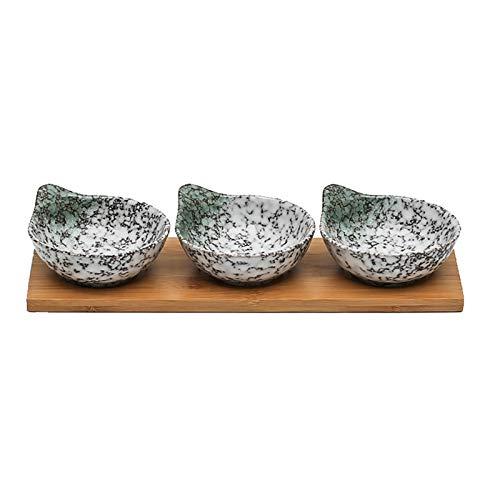 Cuencos Aperitivo Platos de salsa de soja cerámica Conjunto de 3 con bandeja de bambú Estilo japonés Vinagre de soja Placa de inmersión Sazoneamiento Platillo Condimento Plato Ketchup Doming Bowls Sal
