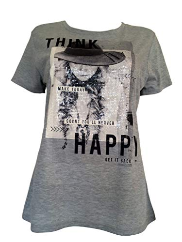 Alex(e) T-Shirt Femme Manches Courtes Vêtement Made in France Grandes Taille Mode Ete Chic Imprimé Happy (S)
