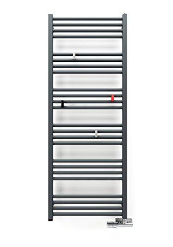 Elektrobadheizkörper, Badheizkörper elektrisch, Handtuchheizkörper, weiss, gerade, hochwertig, in verschiedenen Größen erhältlich, inkl. Heizstab und verschieden wählbaren Heizpatronen, Handtuchtrockner, Handtuchhalter… (1620h x 600b)