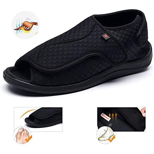 TTW Zapatillas para diabéticos Hombres Edema para Mujer Zapatos para Caminar hinchados Fascitis Plantar Zapatos ortopédicos Señoras Sandalias de Confort Extra Anchas Ajustables,Negro,44