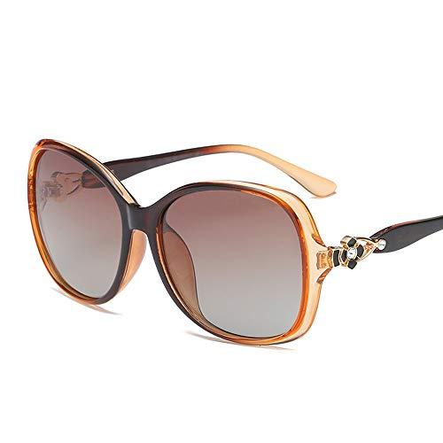 Zhanghanzong Glare Occhiali Occhiali da Sole polarizzati con Montatura Grande da Donna. Occhiali da Sole con Protezione UV Driving Occhiali da Sole polarizzati (Color : Dark Brown, Size : Free Size)