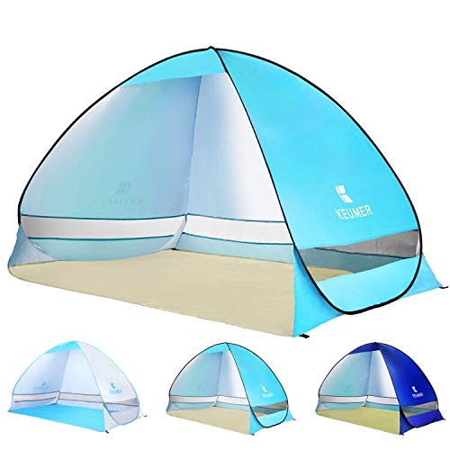 BATTOP Pop Up Beach Tent Sun Shelter Anti UV Beach Shelter for Outdoor Sets Up in Seconds 2-3 Person (Light-Blue)