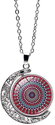 BEISUOSIBYW Co.,Ltd Collar Vintage Glass Domen Pattern Collar con Colgante Giratorio de Doble Cara Joyería clásica de la Luna Collar de Mujer Accesorios Regalo
