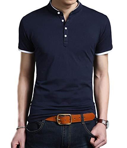 [ベンケ] ポロシャツ Tシャツ メンズ 無地 半袖 丸首 カットソー オシャレ カジュアル 春 夏 トップス 綿 大きいサイズ きれいめ シンプル 丸襟 すっきり 通勤 通学 ボタン クルーネック かっこいい tシャツ ヘンリーネック 白 大きい tシャツ おおきいサイズ 黒 半袖tシャツ シャツ メンズ大きいサイズ インナーtシャツ BEN070 NVL