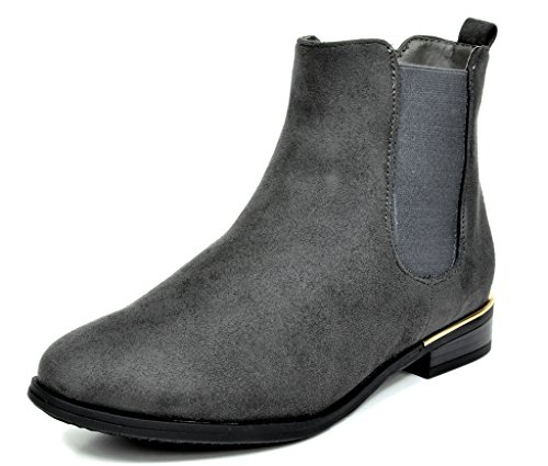DREAM PAIRS Women's Chesney Grey Suede Chelsea Ankle Bootie - 7.5 M US