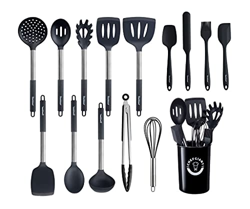 ChefGiant Silicone Kitchen Utensil Set   15-Piece Stainless Steel Cooking Utensils Set & Holder, Spatula, Ladle, Pasta Server, Tongs, Whisk & More   Heat Resistant, BPA Free, Dishwasher Safe   Black
