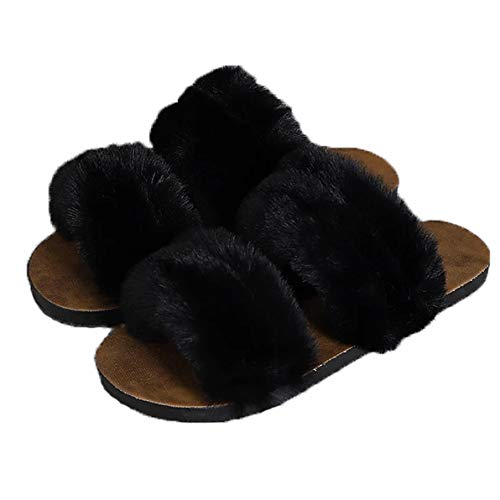 UTOPIAY Zapatillas De Felpa para Mujer, Suave Open Toe Chanclas Mullidas, Antideslizantes Pantuflas Deslizantes Slipper Interiores Y Exteriores,Negro,38