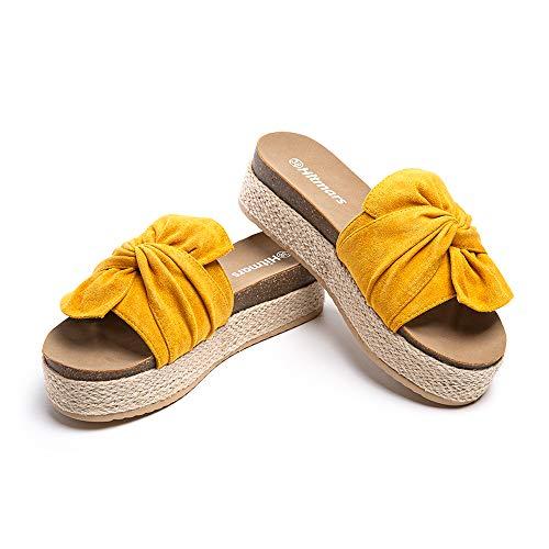 Sandalias Plataforma Mujer Verano Alpargatas Mules Cuña Punta Abierta Zapatillas de Tacón Playa Comodas Zapatos Vestir Slip On Amarillo 40 EU