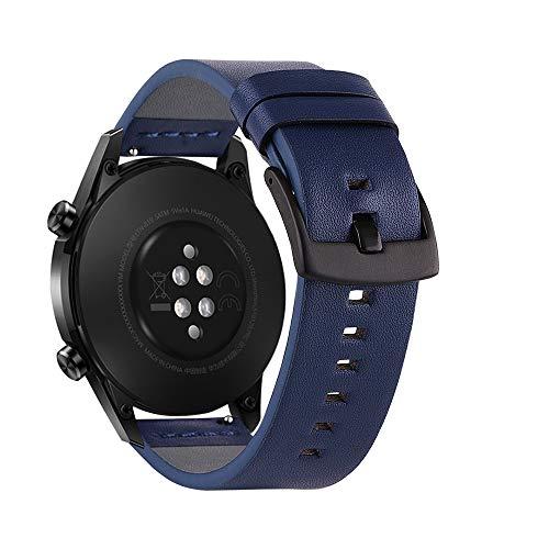 22 mm Top Grain cuero Uhrenarmband Quick Release Ersatzarmband Smart Watch Band con Schnallenverschluss para hombres mujeres compatible con HUAWEI WATCH GT 2 46 mm / HONOR MagicWatch 2 46 mm