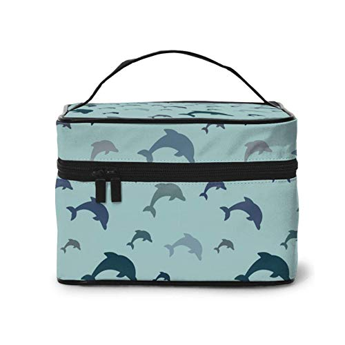 Jumping Dolphins - Bolsa de maquillaje duradera para viaje para mujeres y niñas