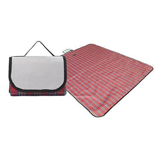 LilouGG Camping Schlafmatte – Matte, faltbar, wasserdicht, für Schlafen, Camping, feuchtigkeitsbeständig, kariert, rot, 150 * 100