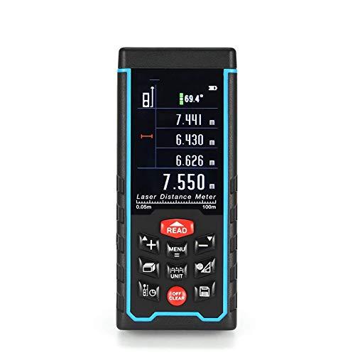 Cacoffay 100M-Handlaser-Entfernungsmesser-Entfernungsmesser Laser Bandmaß Abstandswerkzeug Entfernungsmesser (Farbe: Black & Blue)